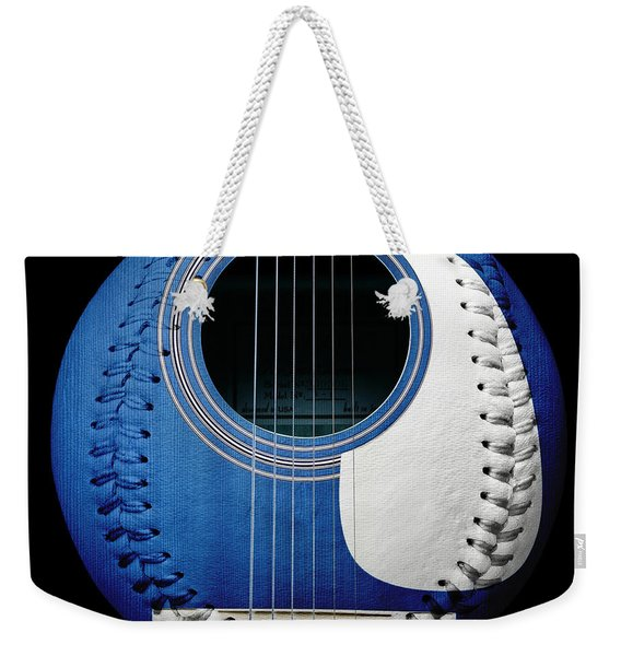Blue Guitar Baseball White Laces Square Weekender Tote Bag