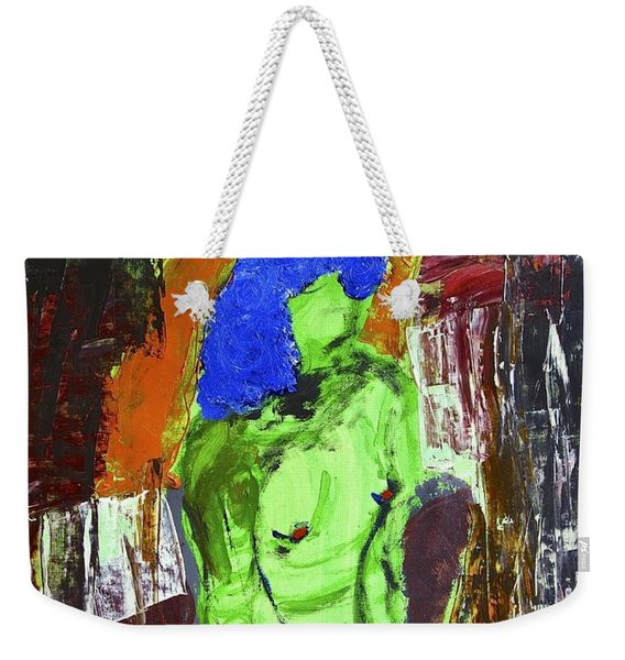 Blue Haired Nude Weekender Tote Bag