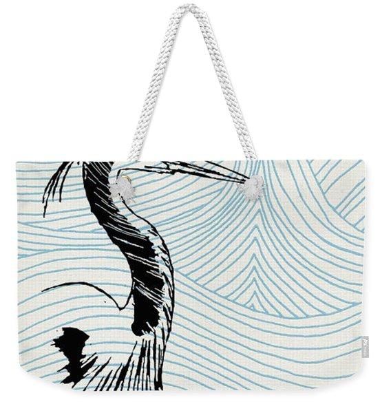Blue Heron On Waves Weekender Tote Bag