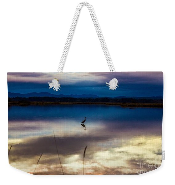 Blue Heron Sun Set Weekender Tote Bag