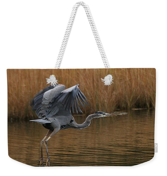 Weekender Tote Bag featuring the photograph Blue Heron Takes Flight by William Selander