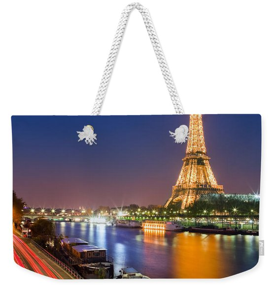 Blue Hour In Paris With The Eiffeltower Weekender Tote Bag
