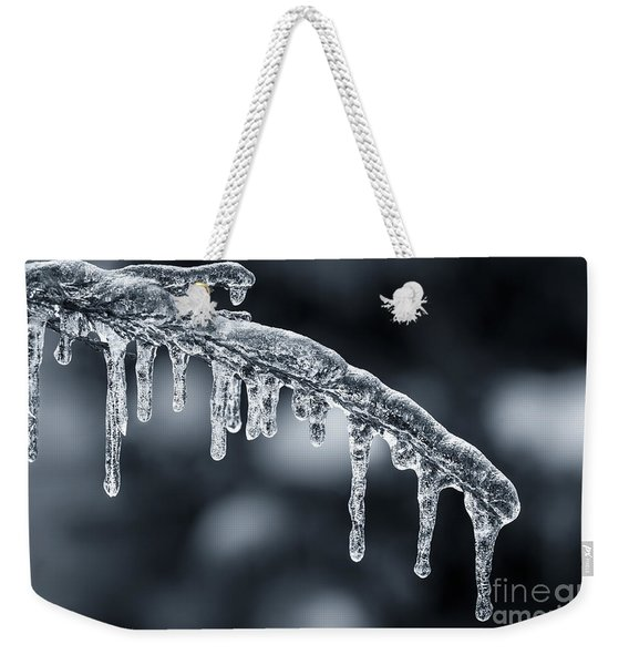 Blue Icicles On Winter Branch Weekender Tote Bag