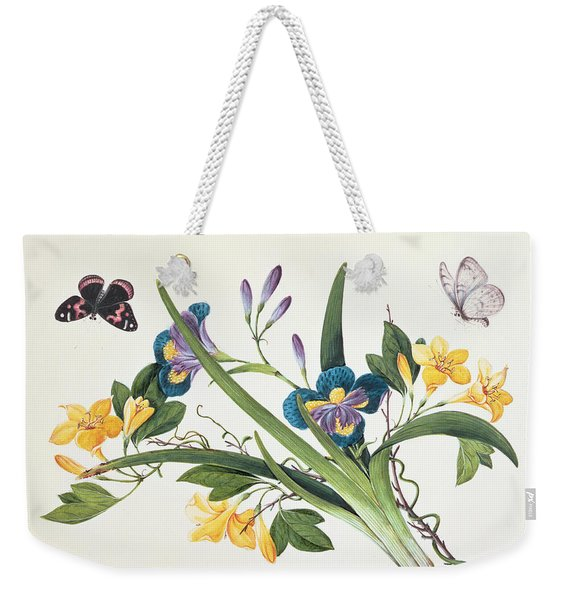Blue Iris And Insects Weekender Tote Bag