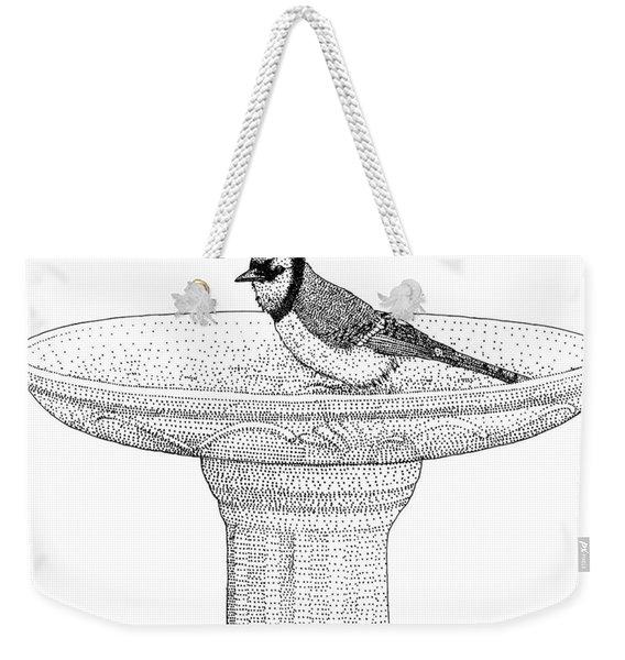 Blue Jay Birdbath Weekender Tote Bag