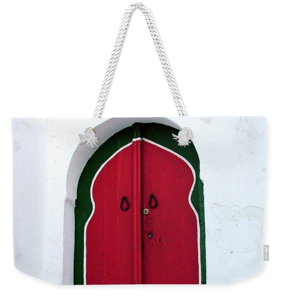 Blue Lantern Over Red Door Weekender Tote Bag