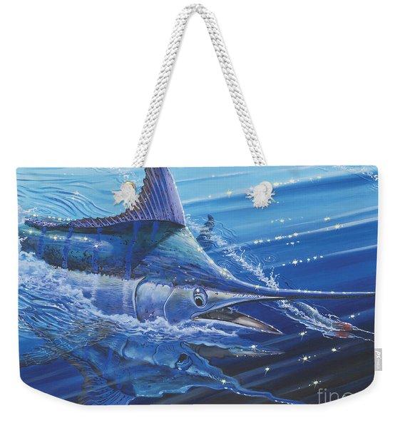 Blue Marlin Strike Off0053 Weekender Tote Bag