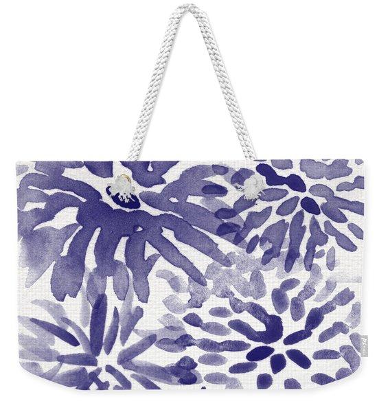 Blue Mums- Watercolor Floral Art Weekender Tote Bag