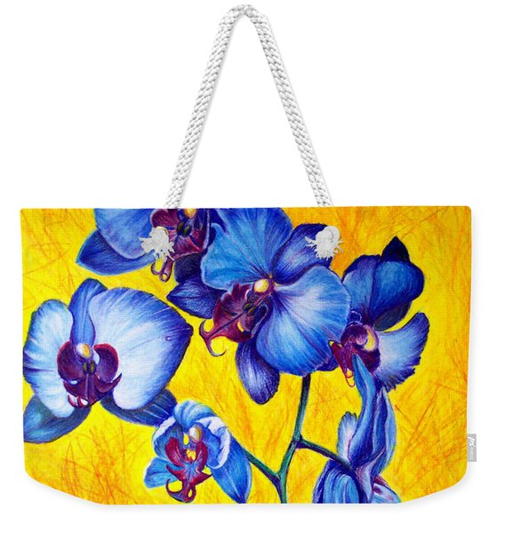 Weekender Tote Bag featuring the painting Blue Orchids 1 by Nancy Cupp