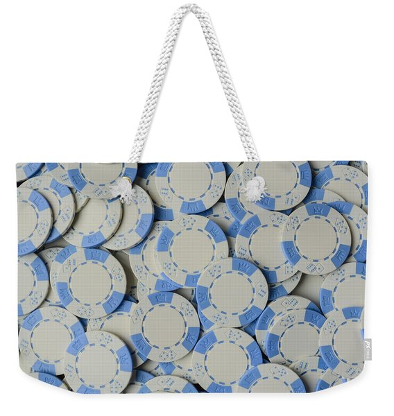 Blue Poker Chip Background Weekender Tote Bag