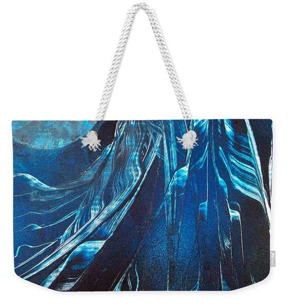 Blue Satin Weekender Tote Bag