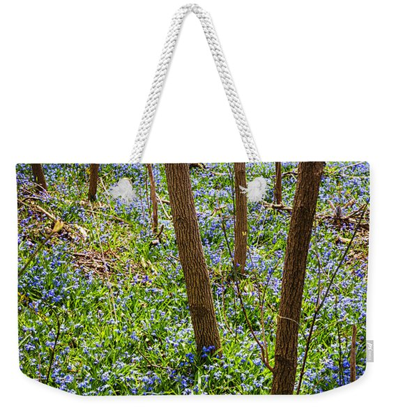 Blue Spring Flowers In Forest Weekender Tote Bag
