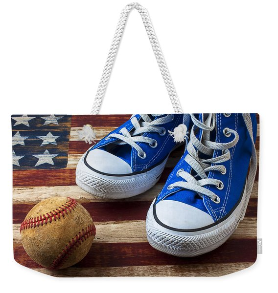 Blue Tennis Shoes And Baseball Weekender Tote Bag