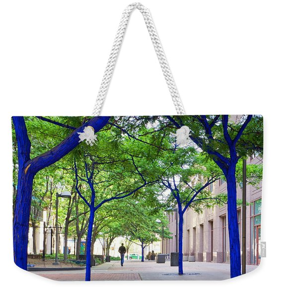 Weekender Tote Bag featuring the photograph Blue Tree Walkway by Mary Lee Dereske
