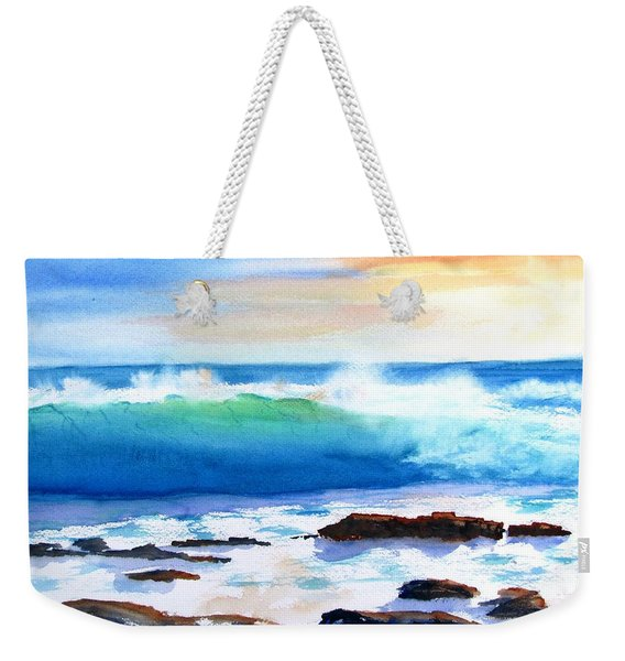 Blue Water Wave Crashing On Rocks Weekender Tote Bag