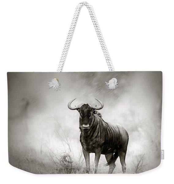 Blue Wildebeest In Rainstorm Weekender Tote Bag