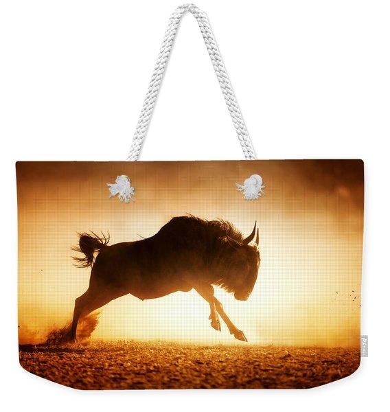 Blue Wildebeest Running In Dust Weekender Tote Bag