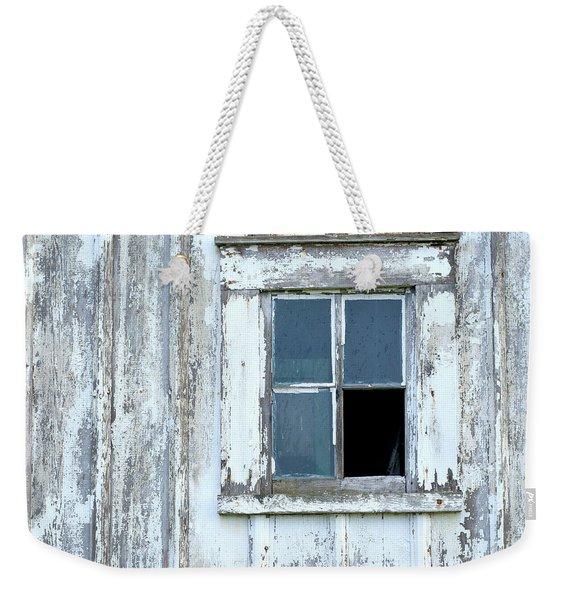 Blue Window In Weathered Wall Weekender Tote Bag