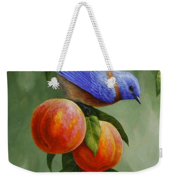 Bluebird And Peaches Greeting Card 1 Weekender Tote Bag