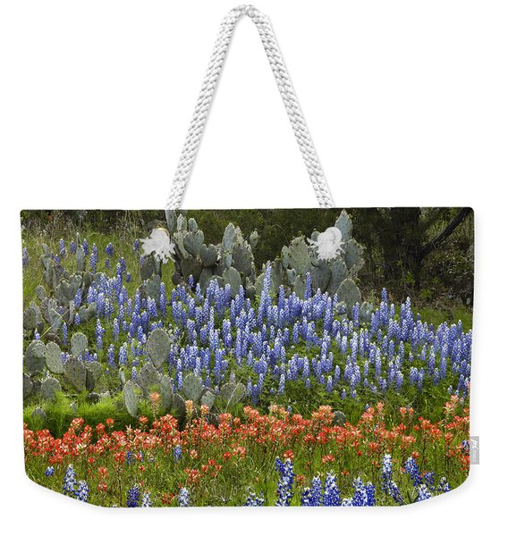 Bluebonnets Paintbrush And Prickly Pear Weekender Tote Bag