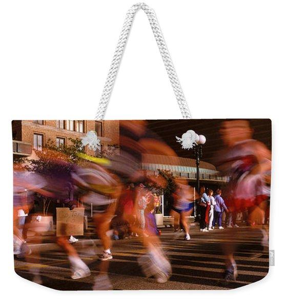 Blurred Motion Of Marathon Runners Weekender Tote Bag