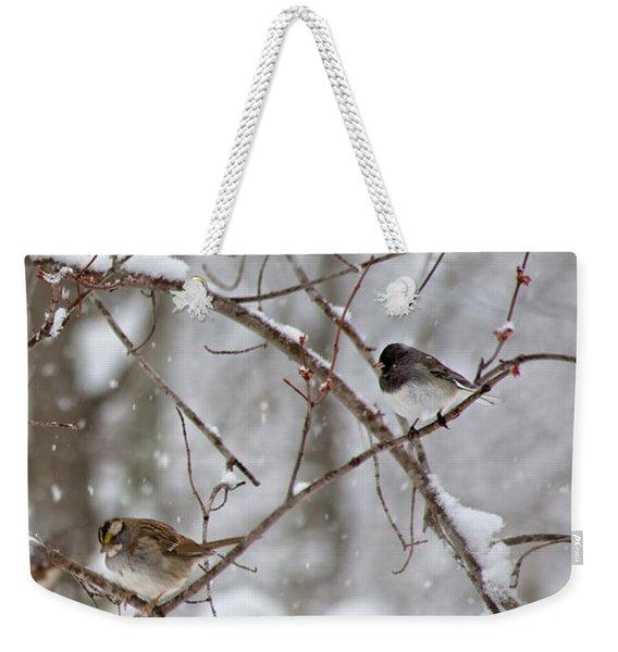 Blushing Red Cardinal In The Snow Weekender Tote Bag