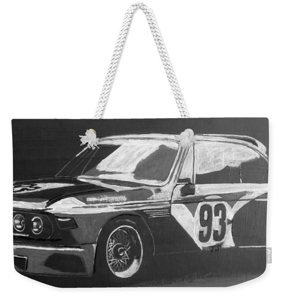 Weekender Tote Bag featuring the painting Bmw 3.0 Csl Alexander Calder Art Car by Richard Le Page