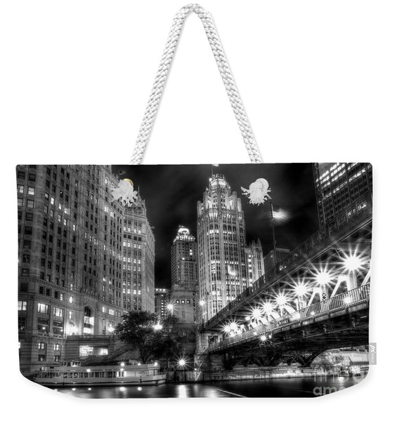 Boat Along The Chicago River Weekender Tote Bag
