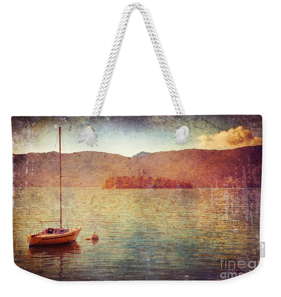 Boat On Lake Maggiore Weekender Tote Bag