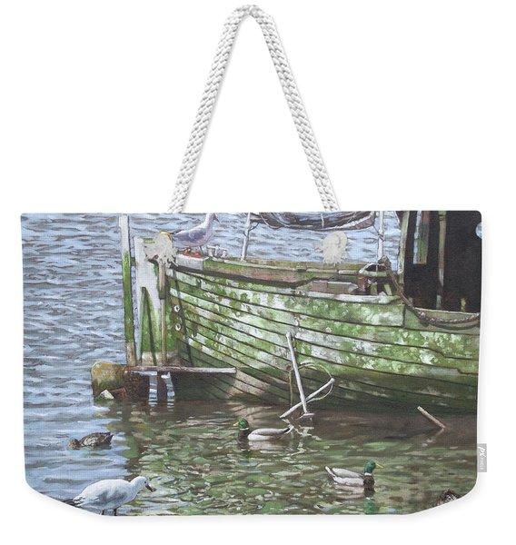 Boat Wreck With Sea Birds Weekender Tote Bag