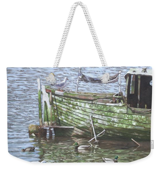 Boat Wreck With Sea Birds Weekender Tote Bag