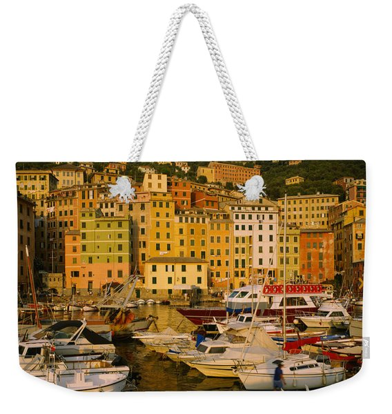 Boats At The Harbor, Camogli, Liguria Weekender Tote Bag