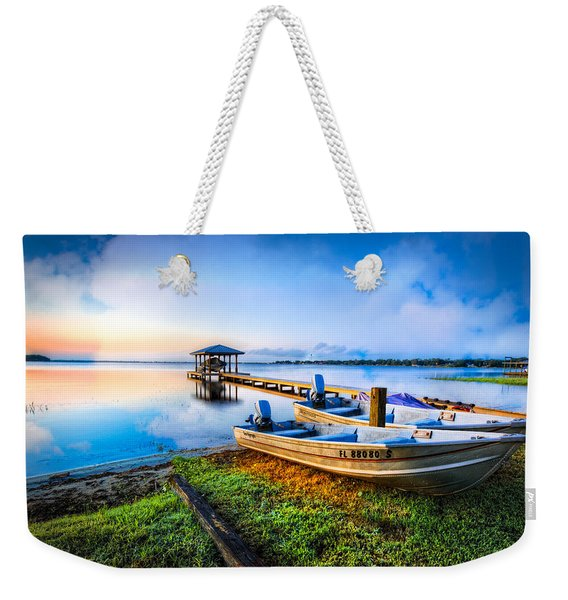 Boats At The Lake Weekender Tote Bag