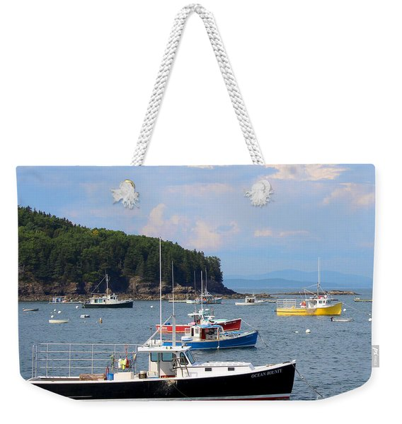 Weekender Tote Bag featuring the photograph Boats In Bar Harbor by Jemmy Archer