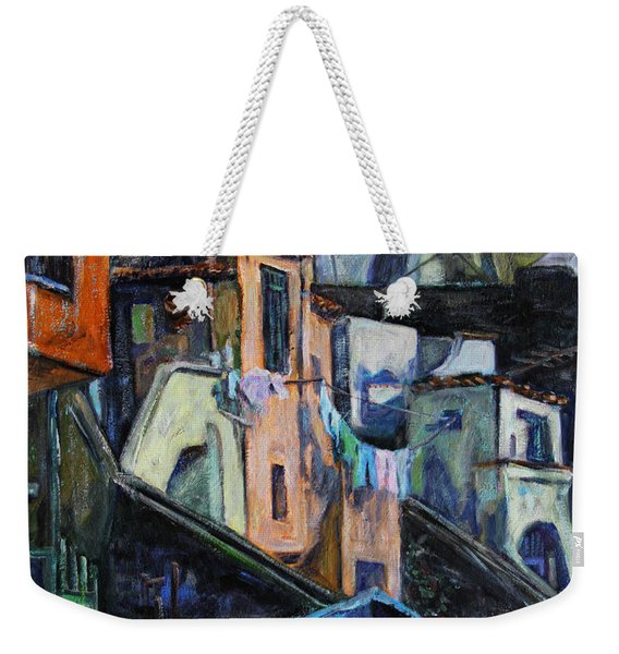 Boats In Front Of The Buildings I  Weekender Tote Bag