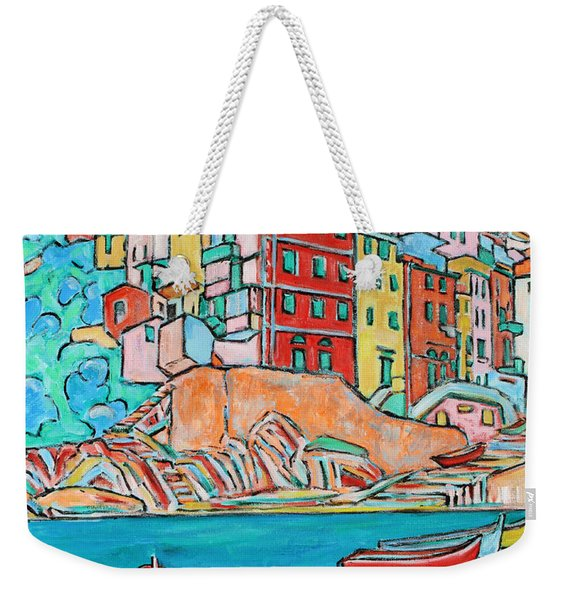 Boats In Front Of The Buildings X Weekender Tote Bag