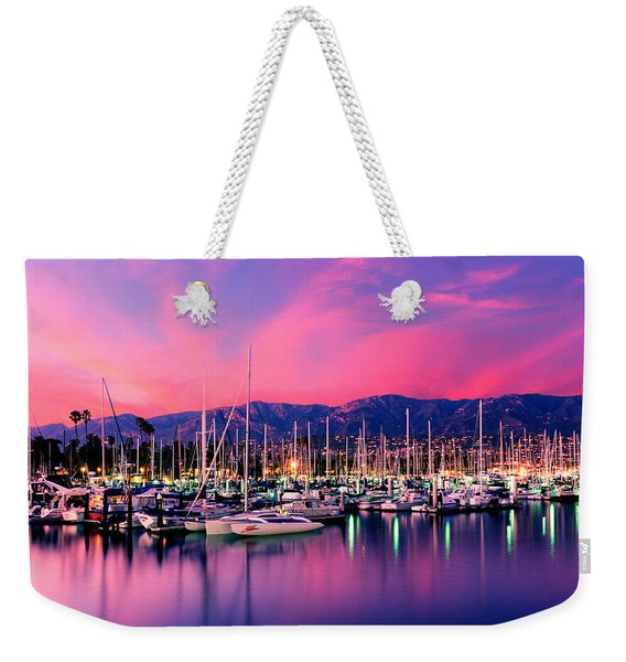Boats Moored In Harbor At Sunset, Santa Weekender Tote Bag