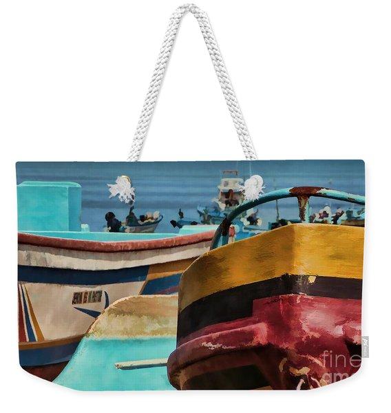 Boats On The Beach - Puerto Lopez - Ecuador Weekender Tote Bag