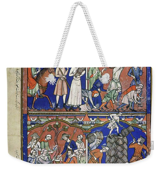 Boaz Sees Ruth Gleaning In His Field Weekender Tote Bag