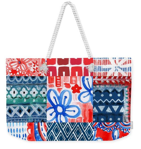 Boho Americana- Patchwork Painting Weekender Tote Bag