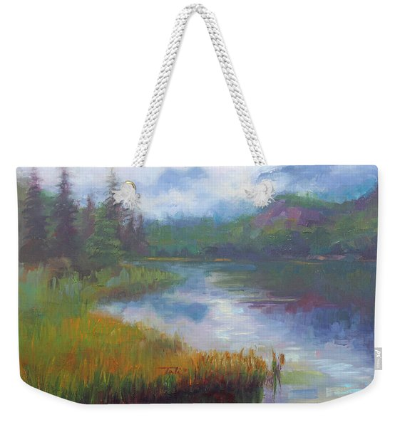 Weekender Tote Bag featuring the painting Bonnie Lake - Alaska Misty Landscape by Talya Johnson