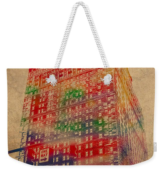 Book Cadillac Iconic Buildings Of Detroit Watercolor On Worn Canvas Series Number 3 Weekender Tote Bag