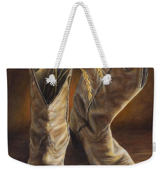 Boots And Wheat Weekender Tote Bag