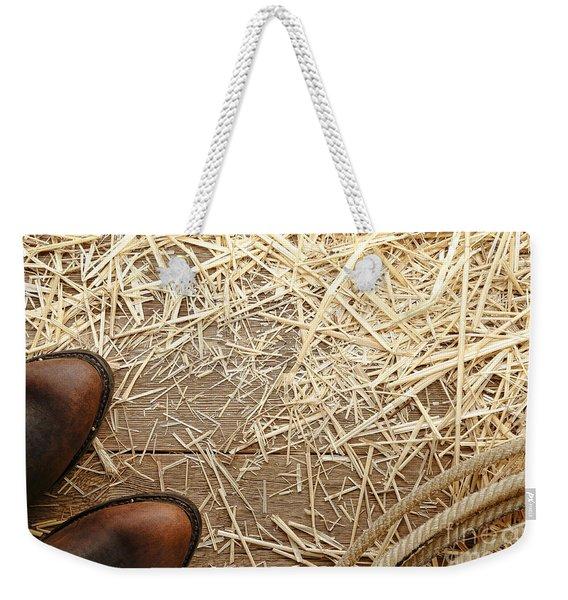 Boots On Wood Weekender Tote Bag