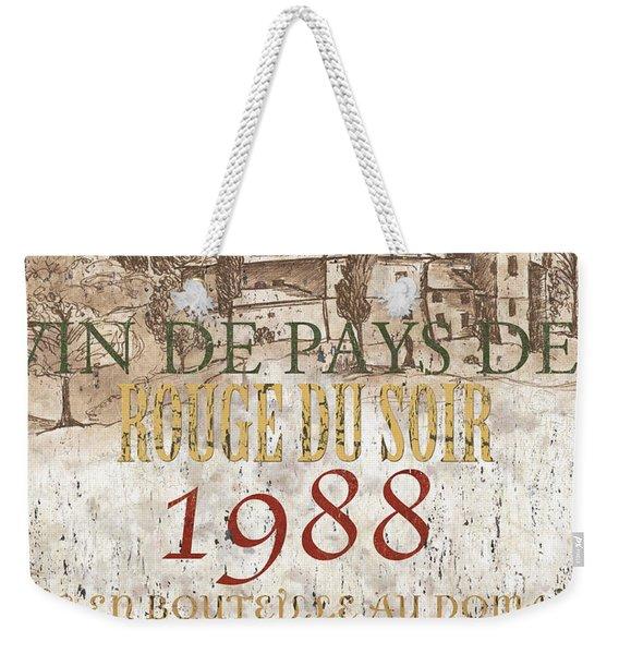 Bordeaux Blanc Label 1 Weekender Tote Bag