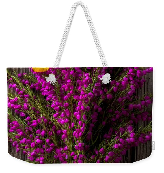 Boronia With Yellow Butterfly Weekender Tote Bag