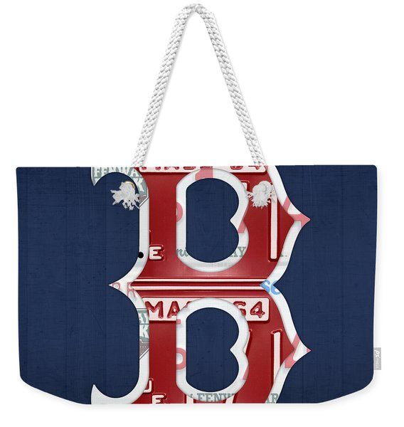Boston Red Sox Logo Letter B Baseball Team Vintage License Plate Art Weekender Tote Bag