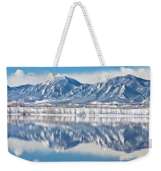 Boulder Reservoir Flatirons Reflections Boulder Colorado Weekender Tote Bag