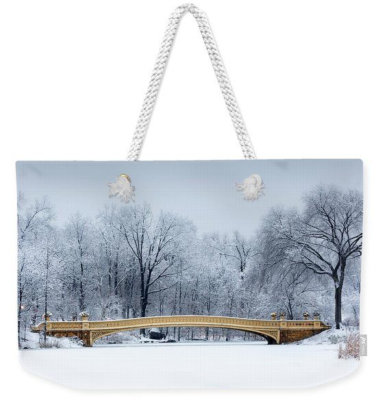 Weekender Tote Bag featuring the photograph Bow Bridge In Central Park Nyc by Mihai Andritoiu