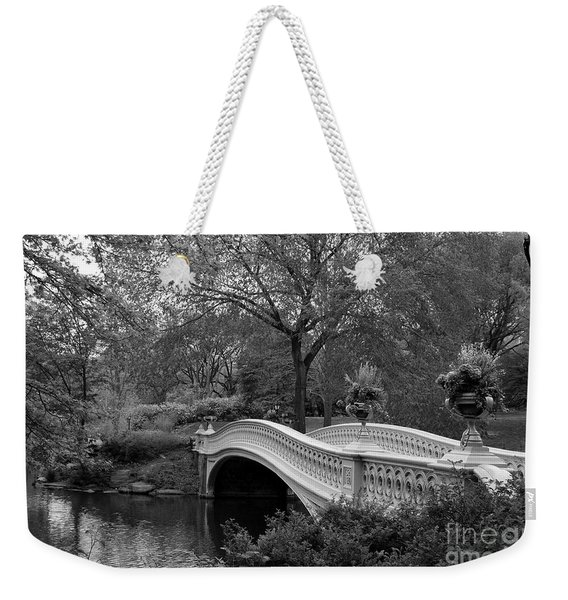 Bow Bridge Nyc In Black And White Weekender Tote Bag